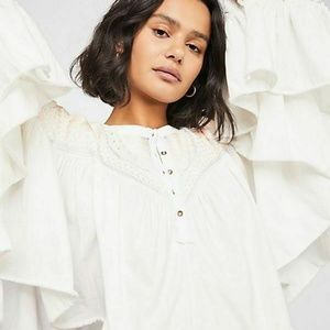 New Free People Delhi Moon Embroidered Ivory Top